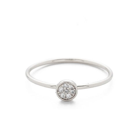 SILVER CZ DISC RING