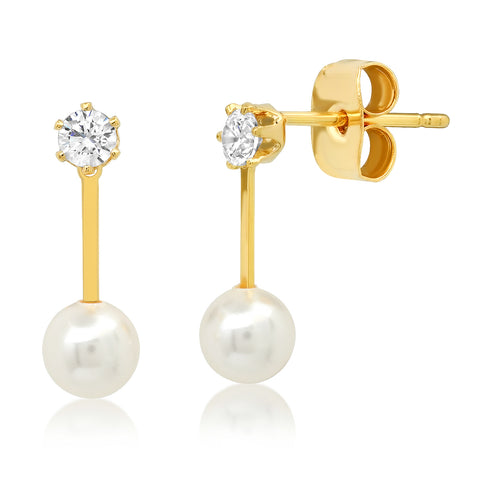 Gold Stick Stud with CZ Solitaire and Pearl Accents