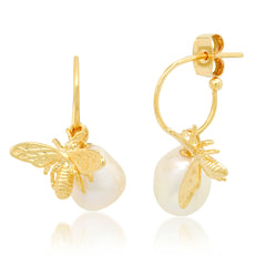 Gold Vermeil Hoops with Freshwater Pearl and Bee Charms