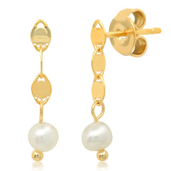 Delicate Chain Linear Earring With Freshwater Pearl Accents