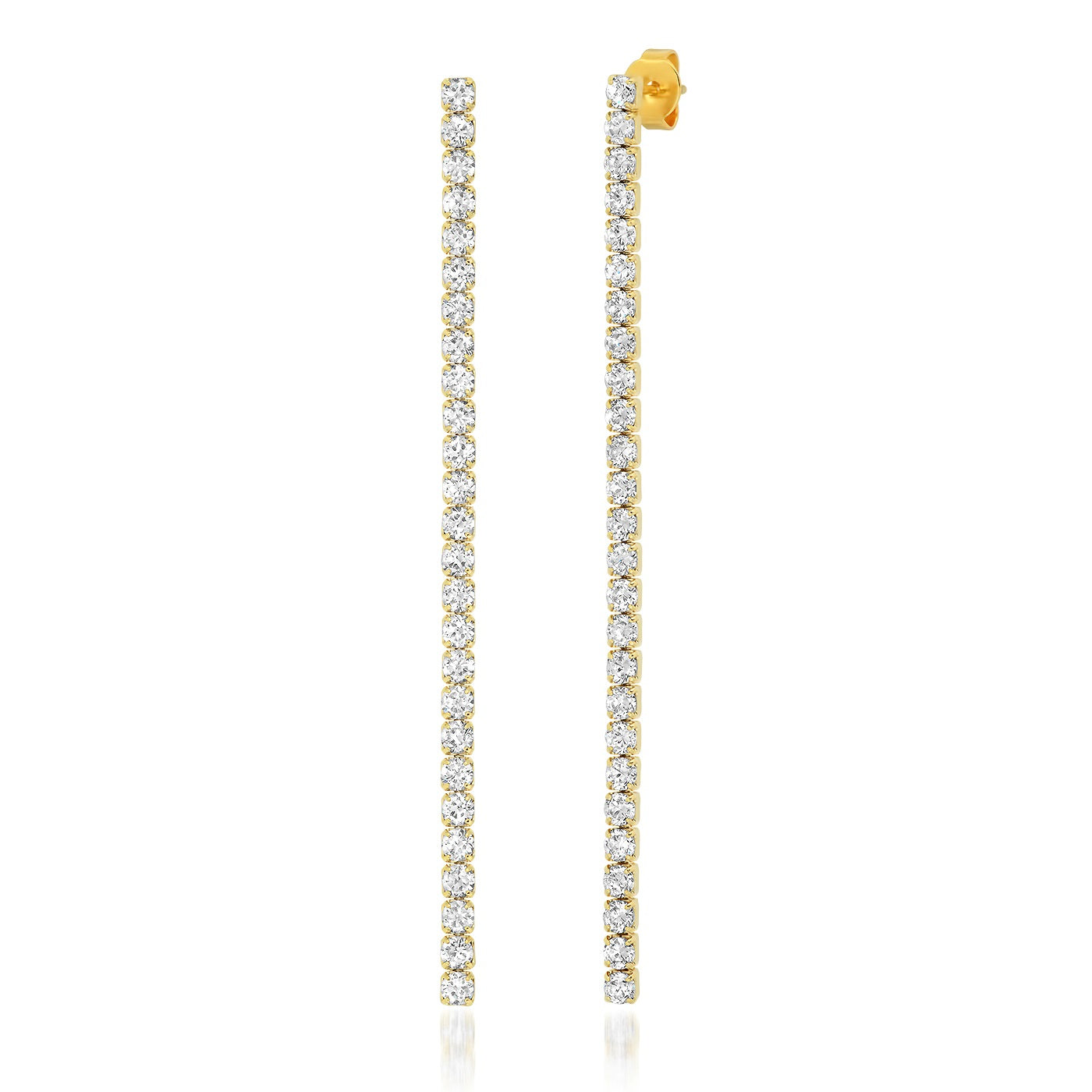 Long Linear CZ Earrings