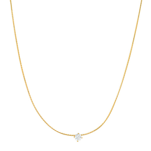 Snake Chain with Simple CZ Center Stone