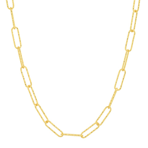 Gold Hammered Paperclip Chain