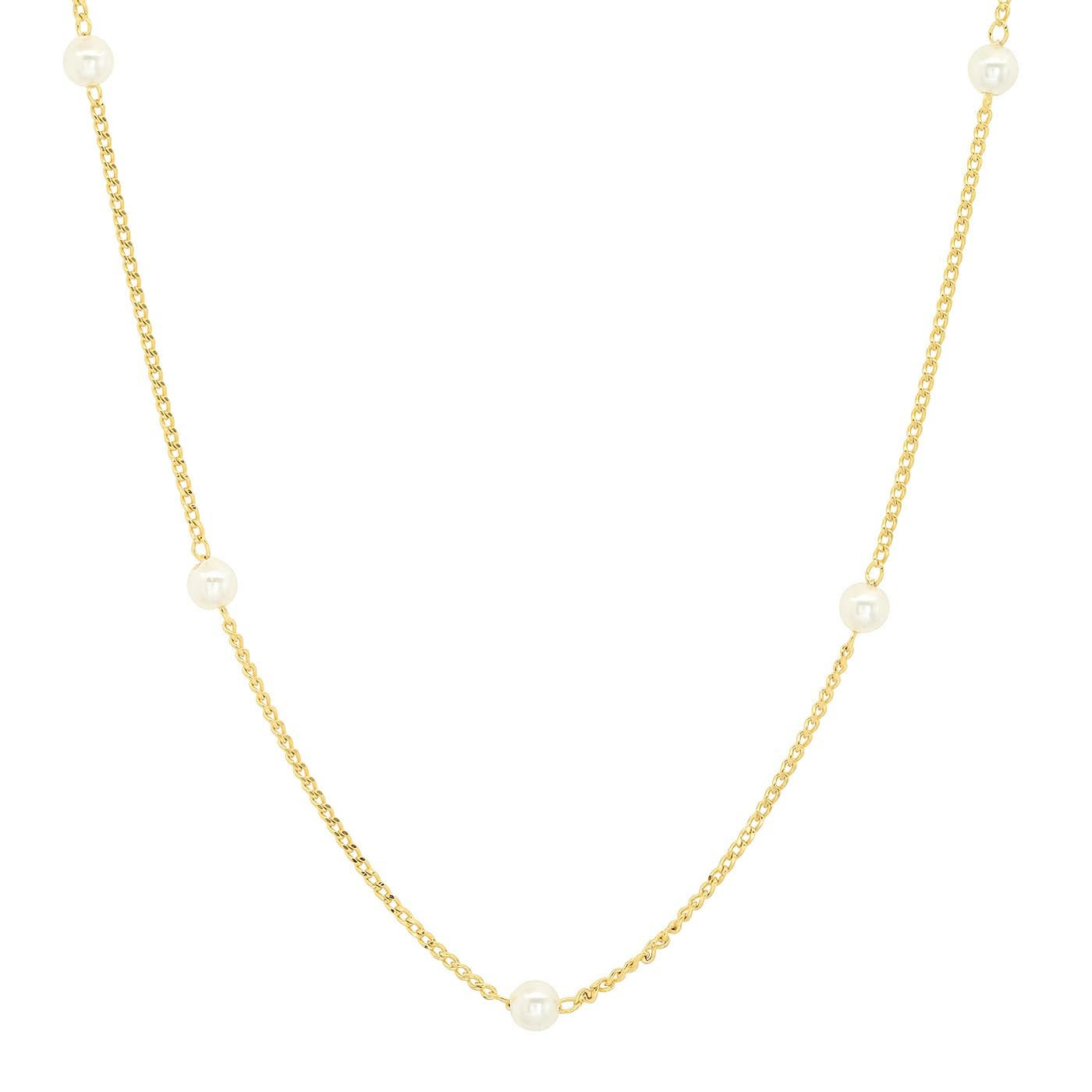 Delicate Pearl Station Necklace