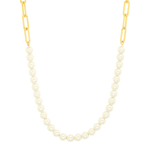Cable Chain Pearl Necklace
