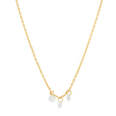 Delicate Chain Necklace with Three Floating CZ Stones