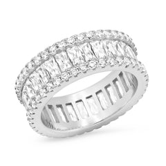 Baguette and Round CZ Eternity Band