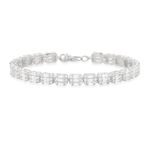 Three Row Baguette Tennis Bracelet
