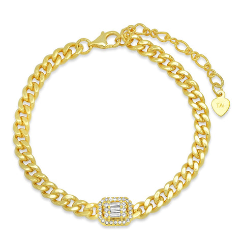 Chain link Bracelet with Baquette CZ Accent