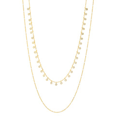 Double-Layered Ball Chain Necklace with CZ Accents