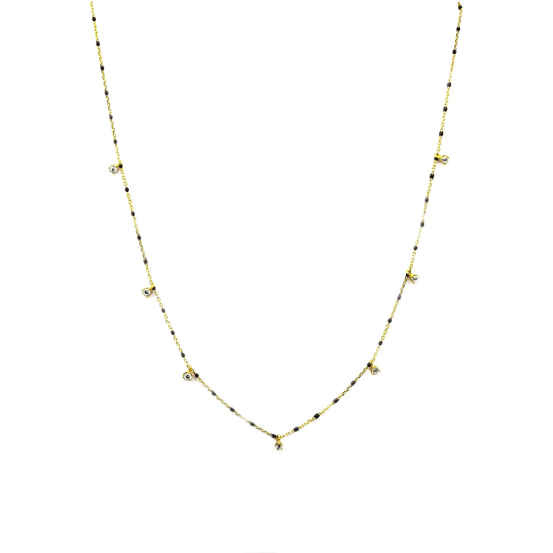 GOLD VERMEIL ENAMEL WITH STATIONED CHARM NECKLACE (BLACK)