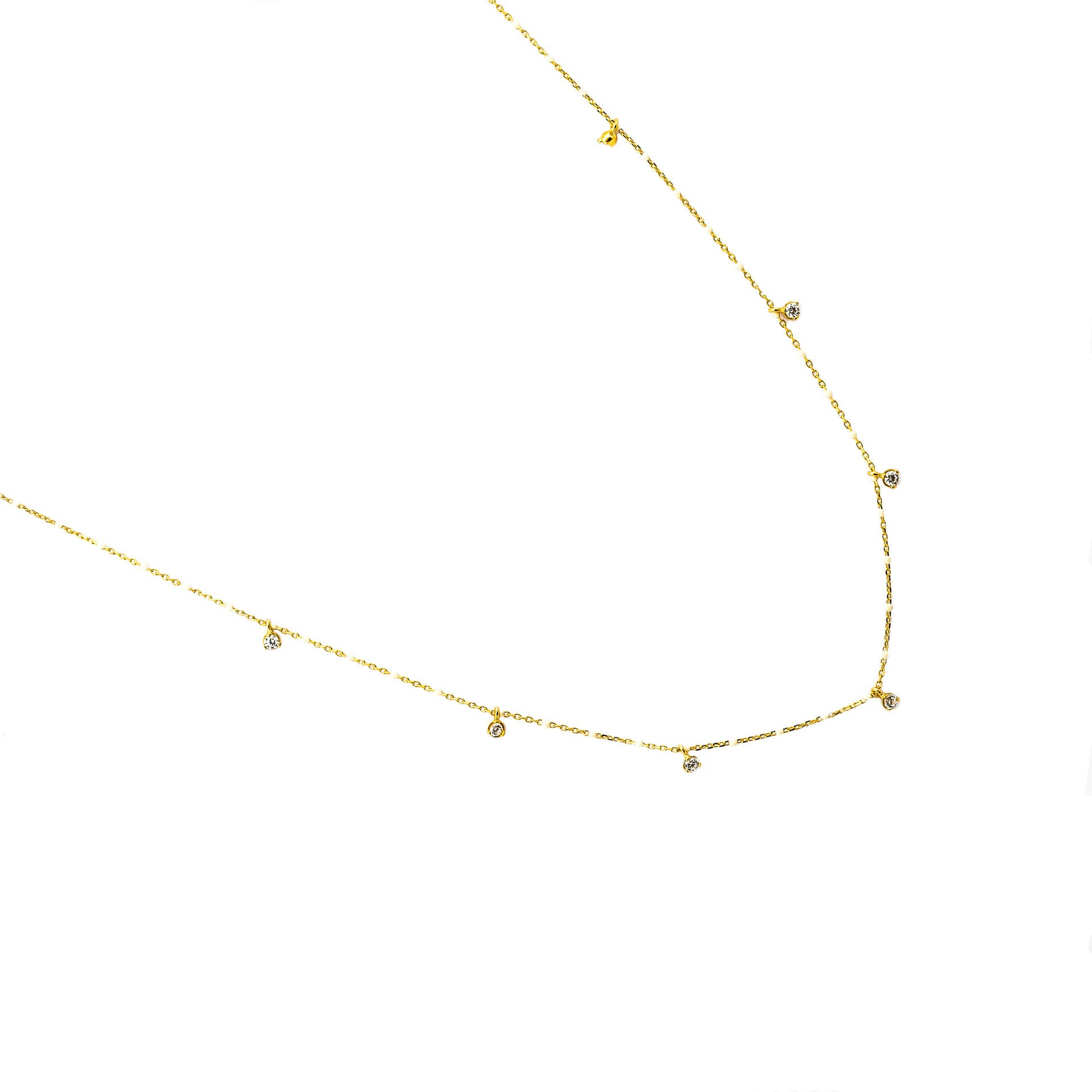 GOLD VERMEIL ENAMEL WITH STATIONED CHARM NECKLACE (WHITE)
