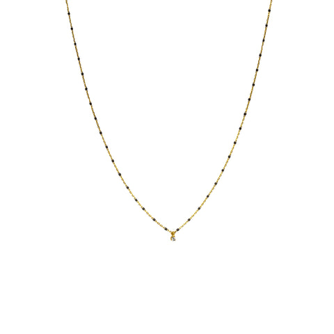 GOLD VERMEIL ENAMEL NECKLACE WITH MULTIPLE CZ/BLACK STONES