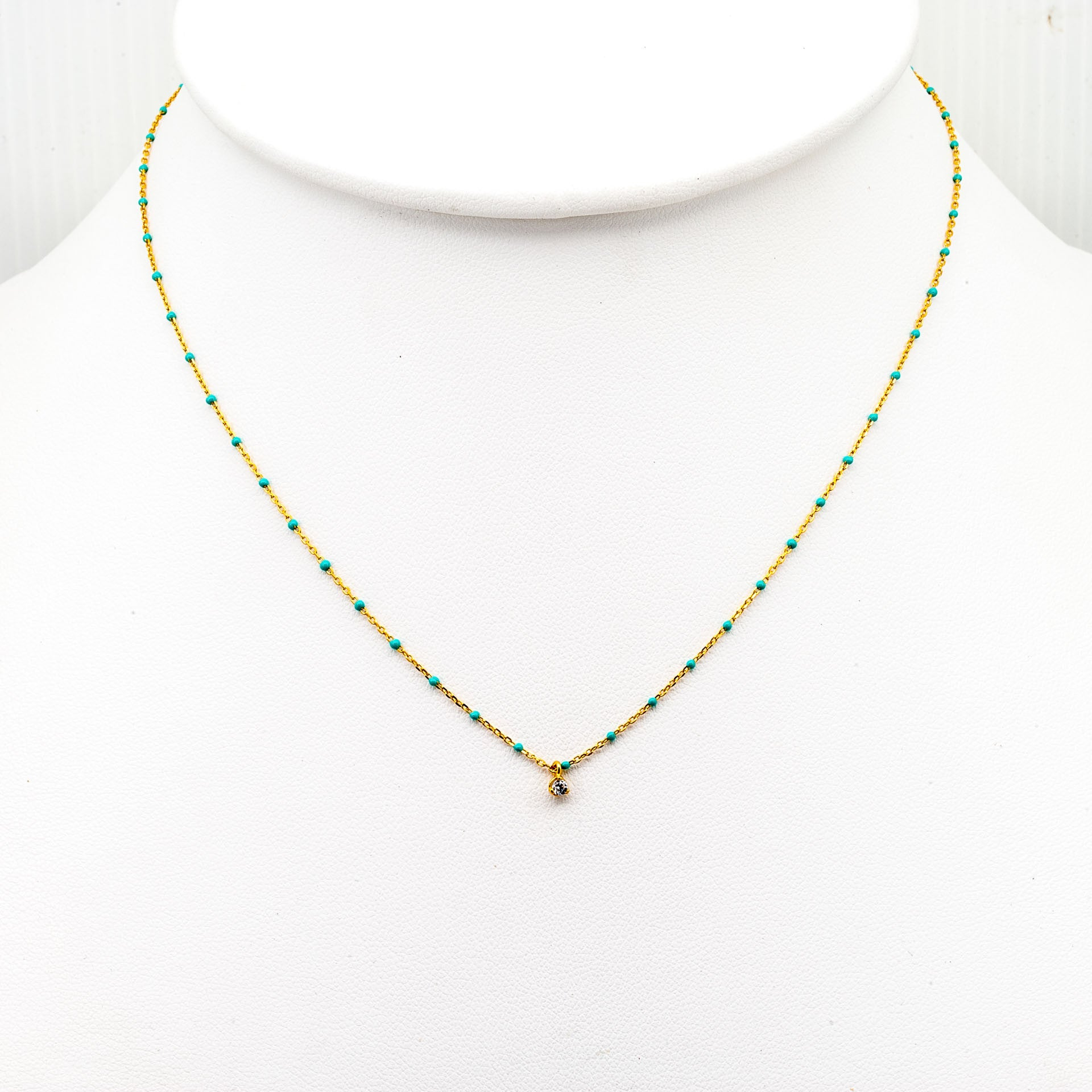GOLD VERMEIL ENAMEL NECKLACE WITH MULTIPLE CZ/TURQUOISE STONES