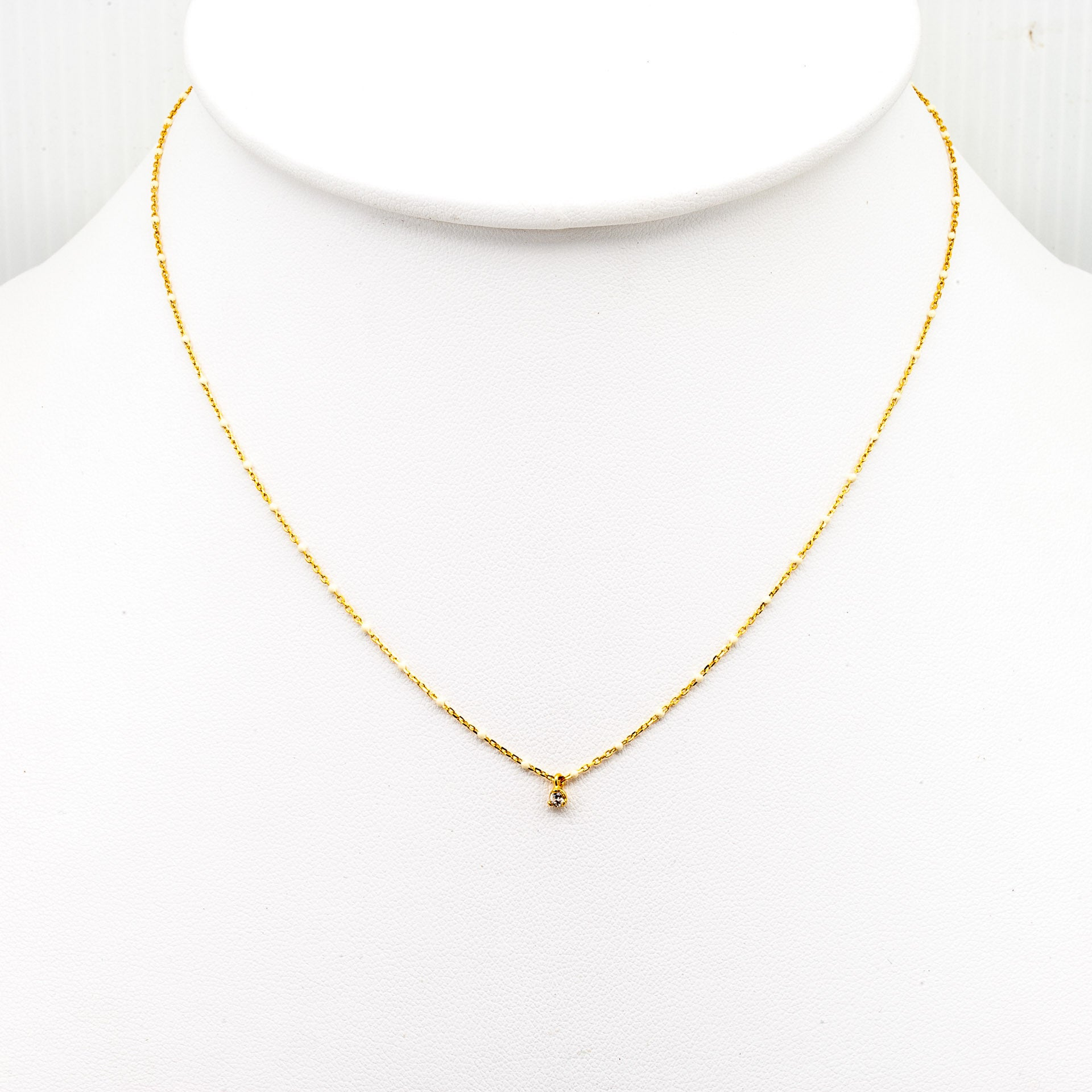 GOLD VERMEIL ENAMEL NECKLACE WITH MULTIPLE CZ/WHITE STONES