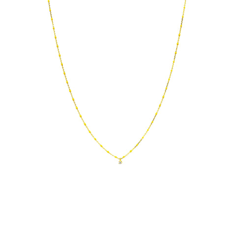 GOLD VERMEIL ENAMEL NECKLACE WITH MULTIPLE CZ/YELLOW STONES