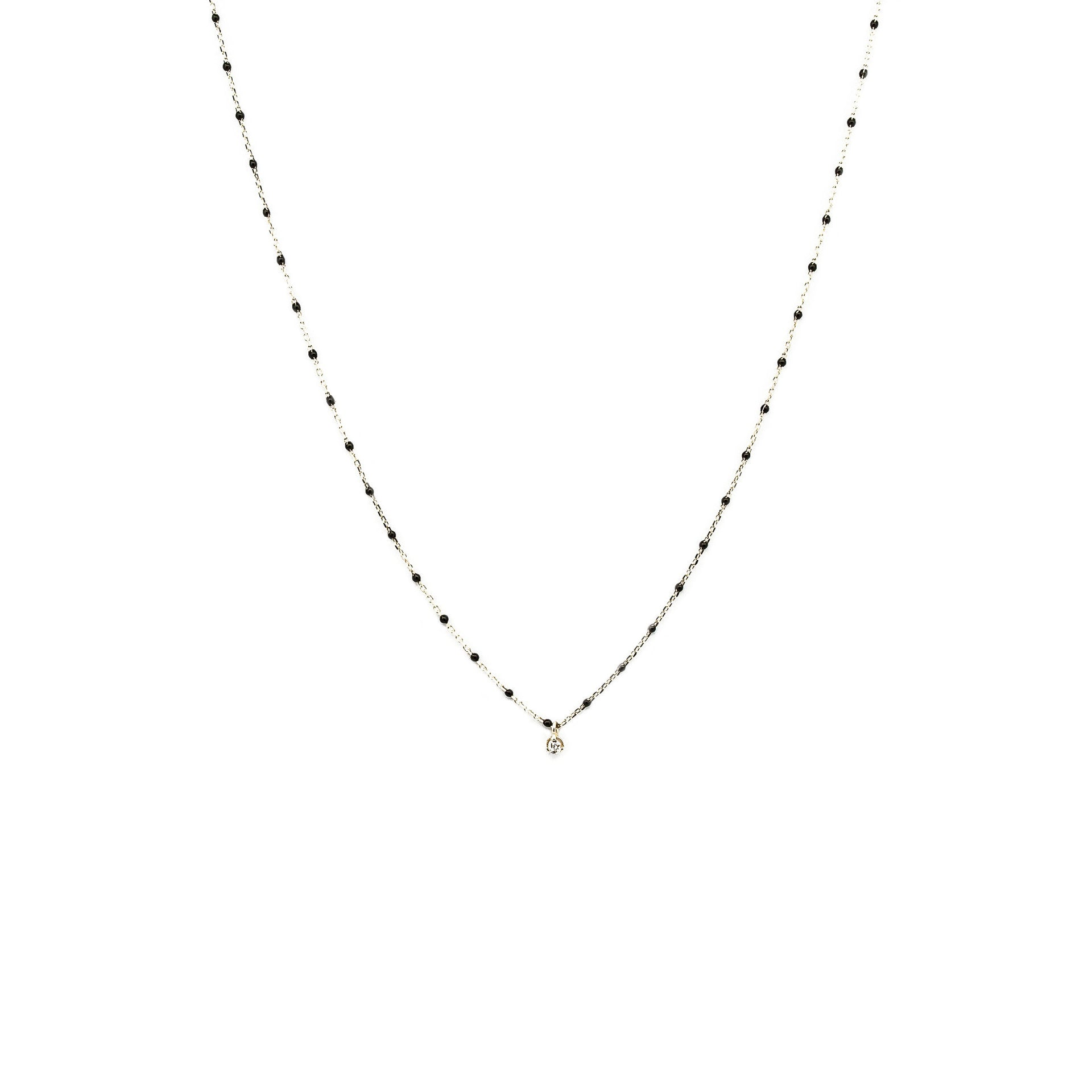 STERLING SILVER ENAMEL BEADED NECKLACE WITH CZ (BLACK)