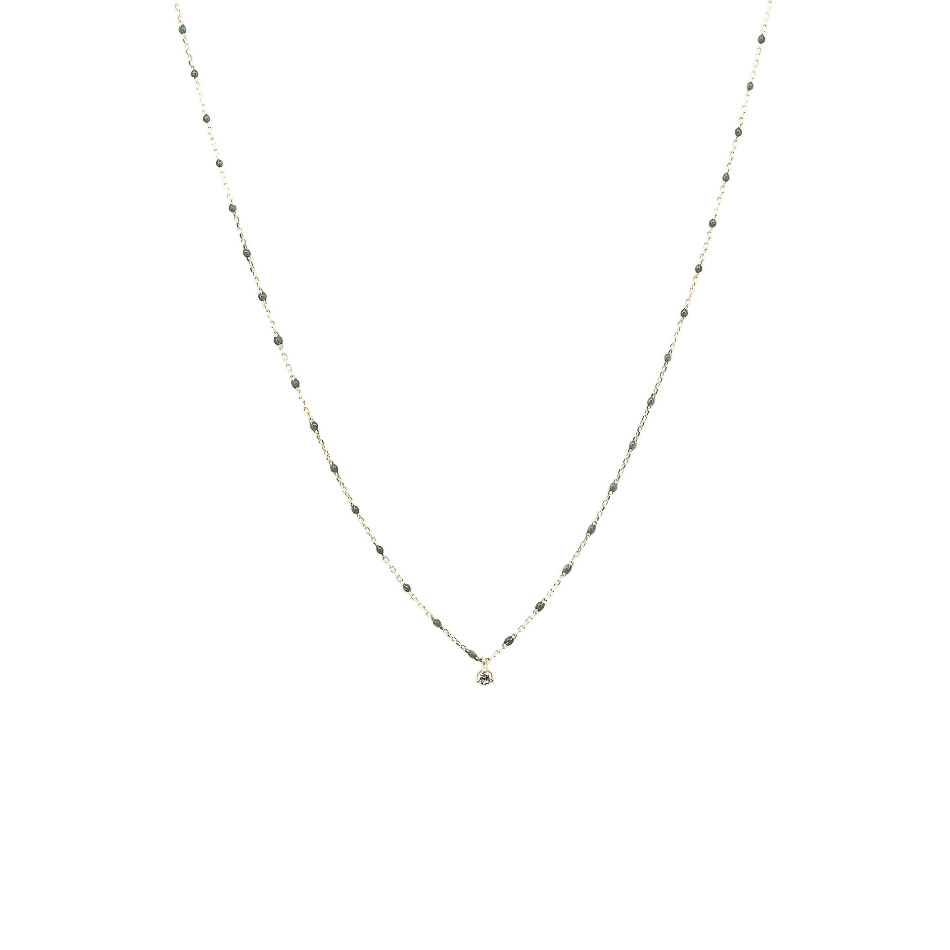 STERLING SILVER ENAMEL BEADED NECKLACE WITH CZ (GRAY)
