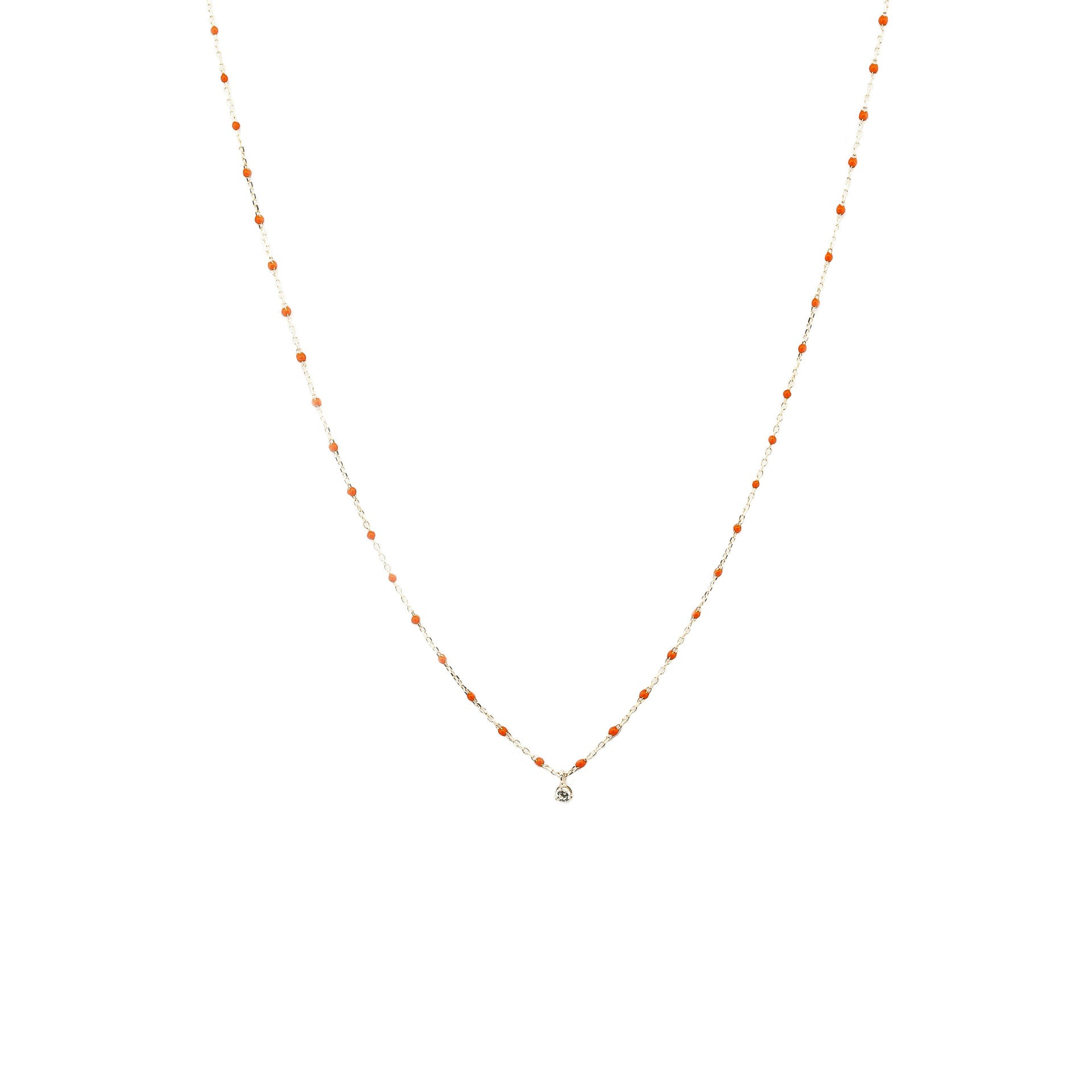 STERLING SILVER ENAMEL BEADED NECKLACE WITH CZ (ORANGE)