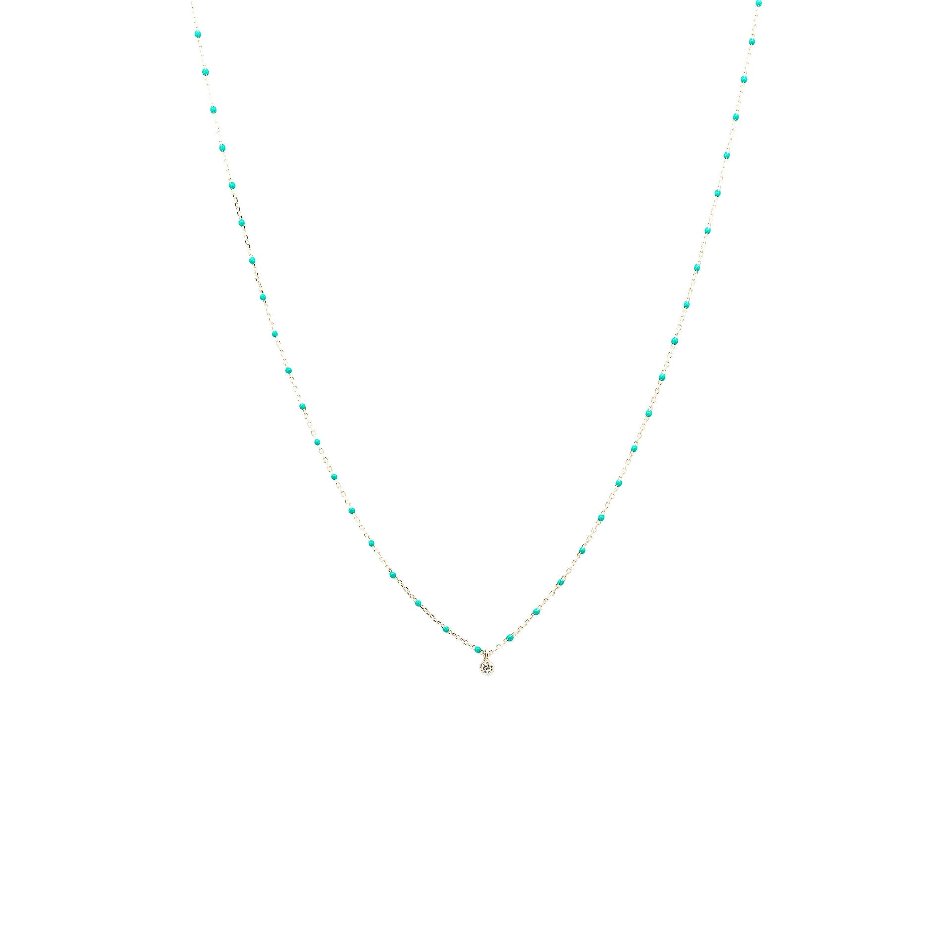 STERLING SILVER ENAMEL BEADED NECKLACE WITH CZ (TURQUOISE)