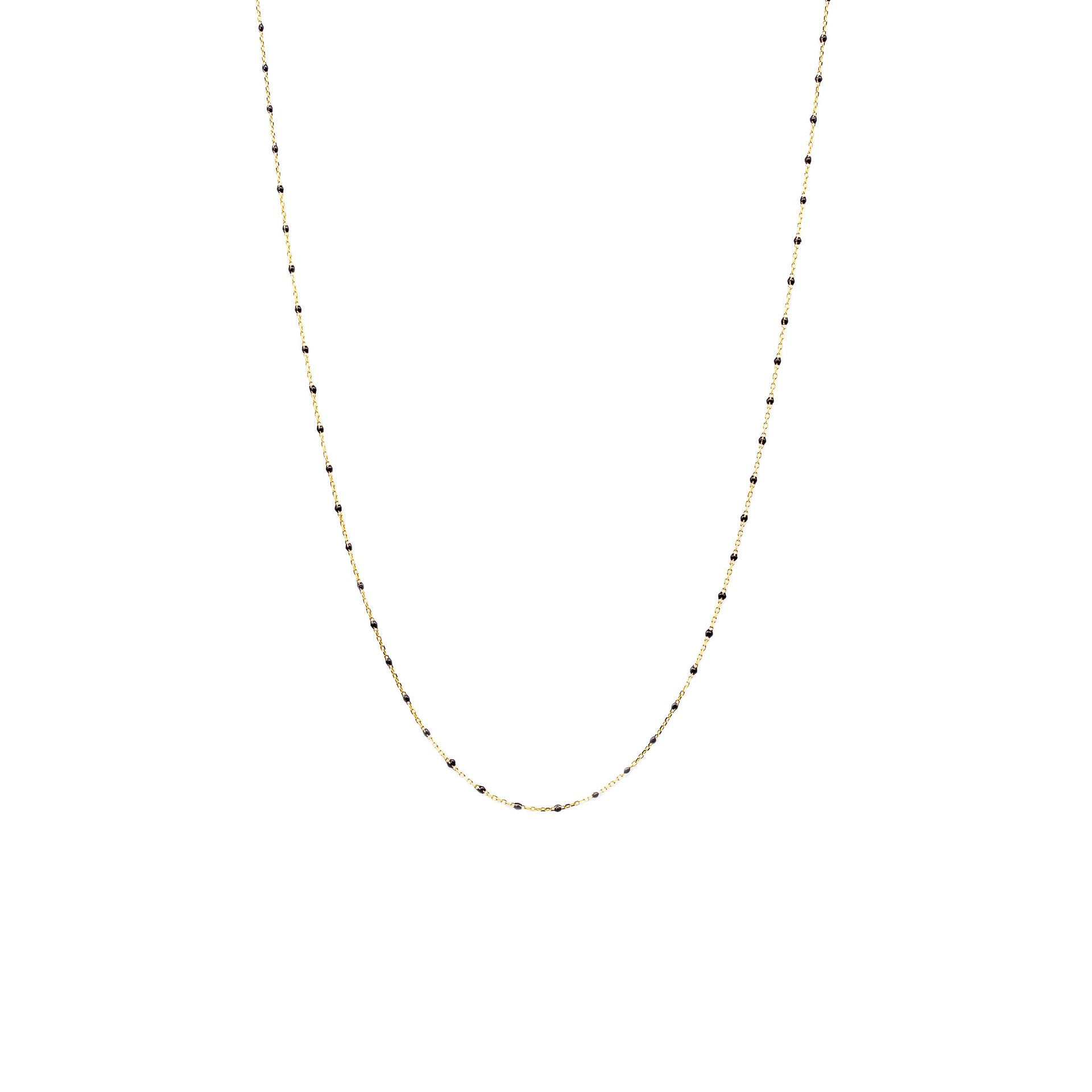 "GOLD VERMEIL 34"" ENAMEL BEADED NECKLACE (BLACK)"