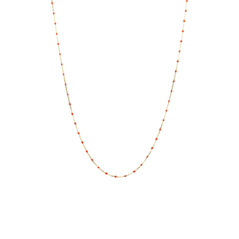 "GOLD VERMEIL 34"" ENAMEL BEADED NECKLACE (ORANGE)"