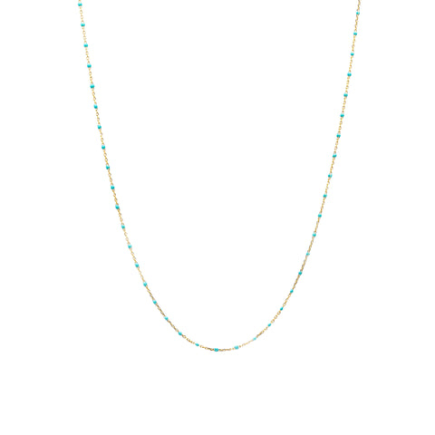 "GOLD VERMEIL 34"" ENAMEL BEADED NECKLACE (TURQUOISE)"