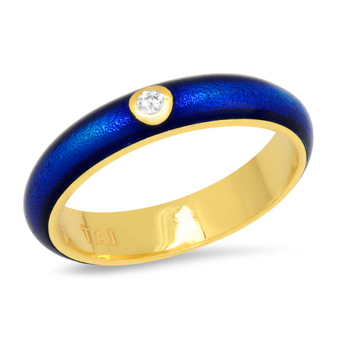 Enamel Ring With Single CZ Accent