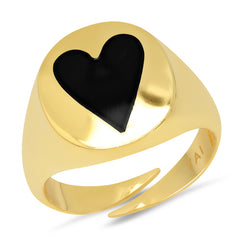 Enamel Heart Signet Ring