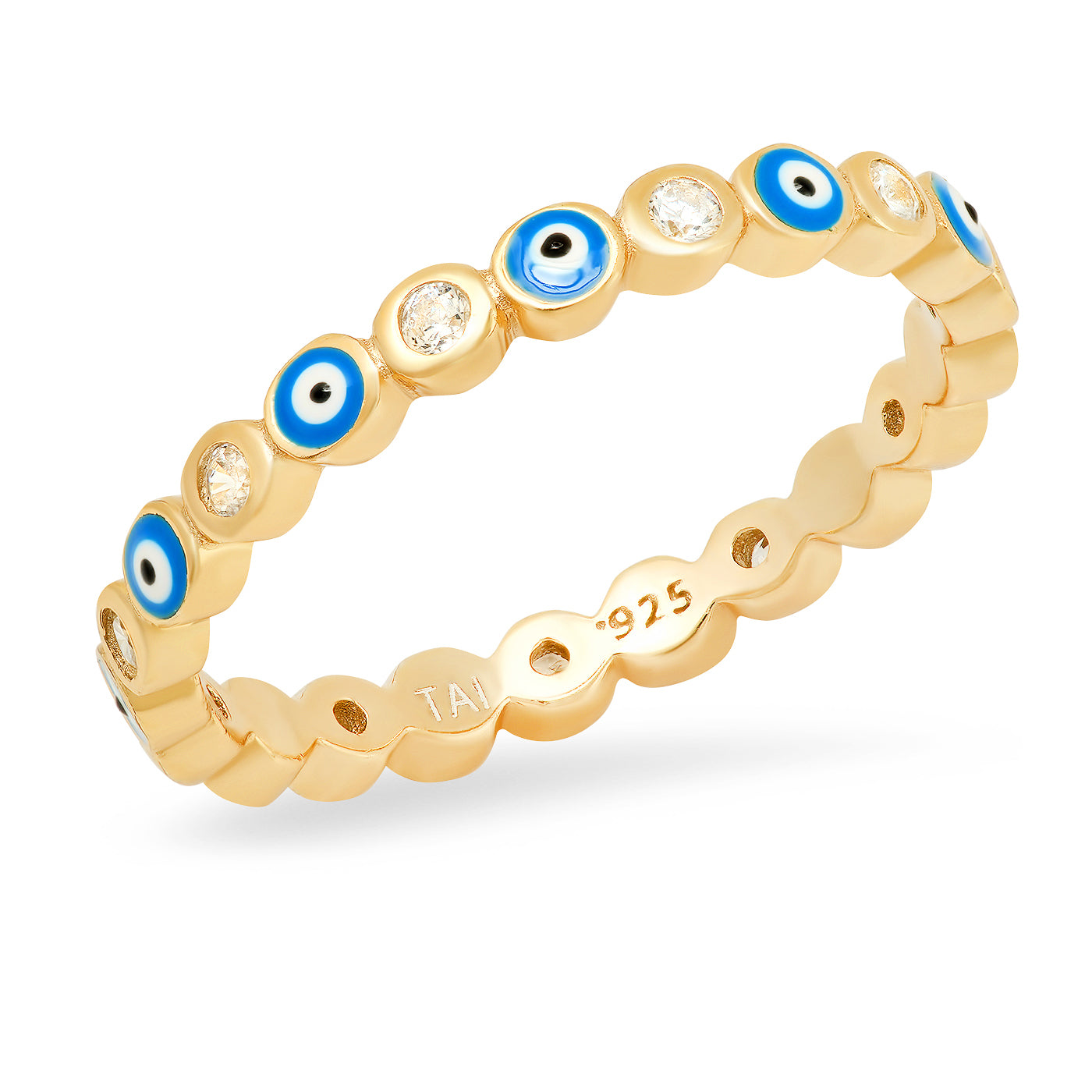 Enamel & CZ Evil Eye Ring