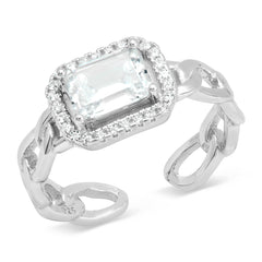 Curb Link East West Emerald Cut Ring