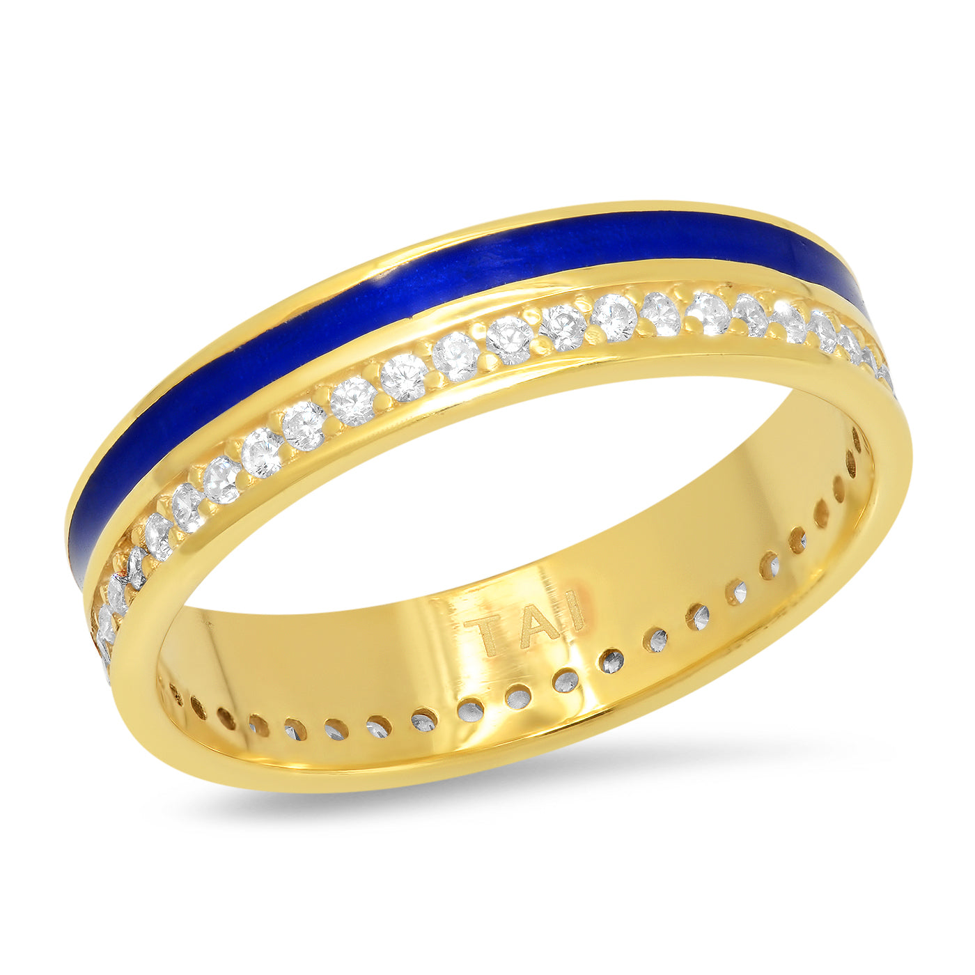 Enamel Ring Band with CZ Accents