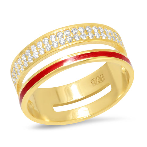 Enamel Band Double Ring with Pave Accents