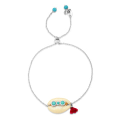 Adjustable Cowrie Shell Chain Bracelet with Turquoise Accents
