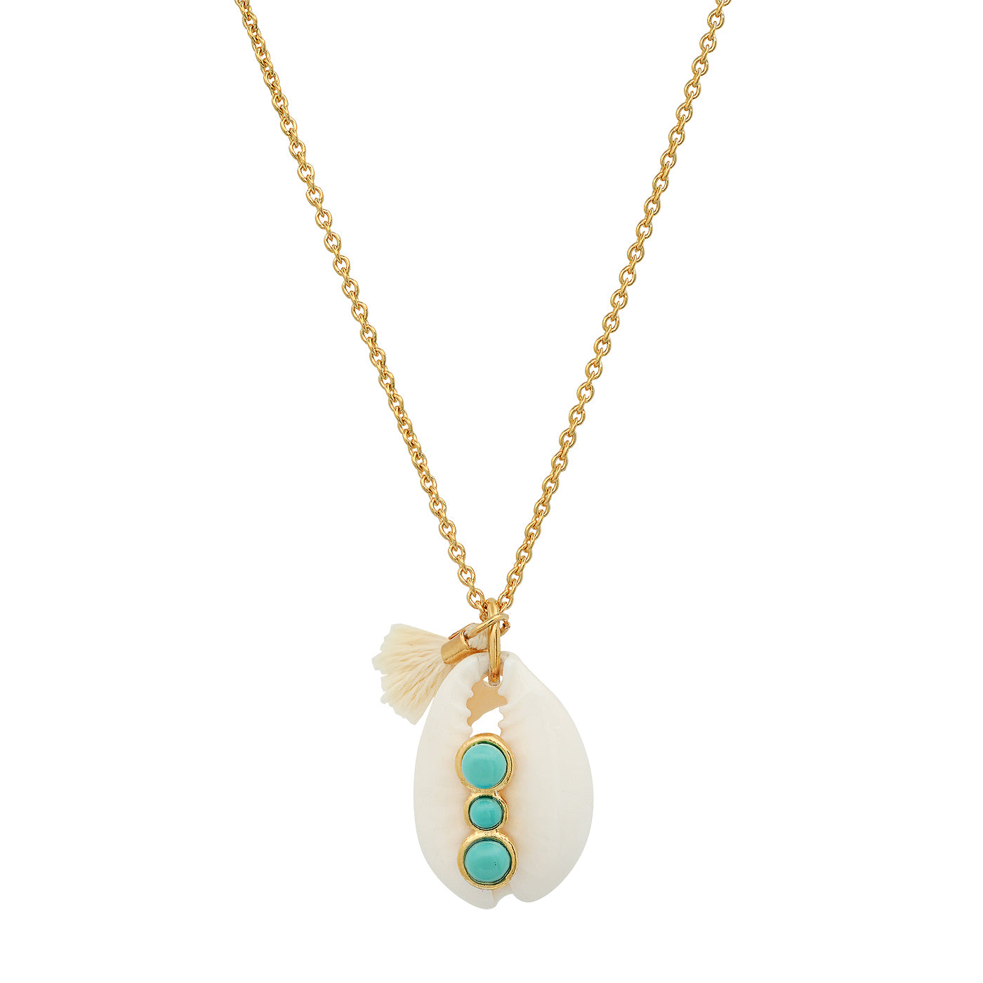 Cowrie Shell Necklace with Bezel Set Turquoise Stone and Tassel Charm