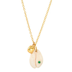 Cowrie Shell Necklace with CZ Embellishment