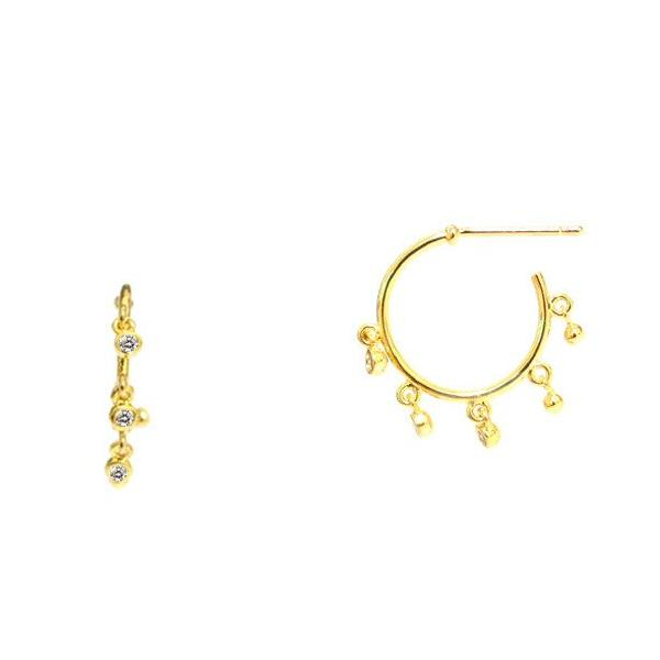 SMALL GOLD HOOP EARRINGS WITH CZ DROPS