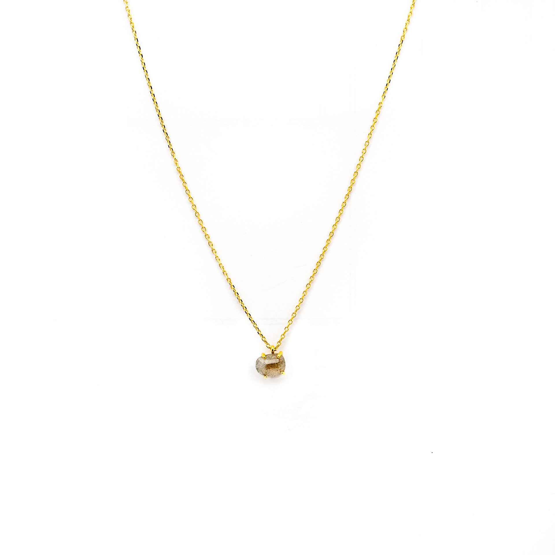 GOLD LABRADORITE PRONG SET PENDANT NECKLACE