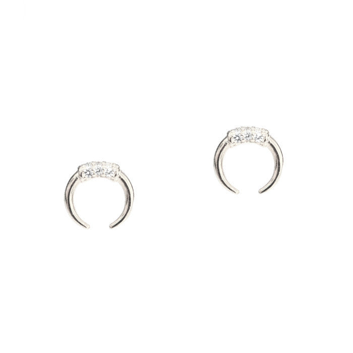 DOUBLE HORN STUDS WITH PAVE ACCENTS