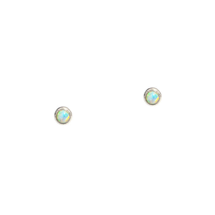 Mini Bezel Set Opal Studs