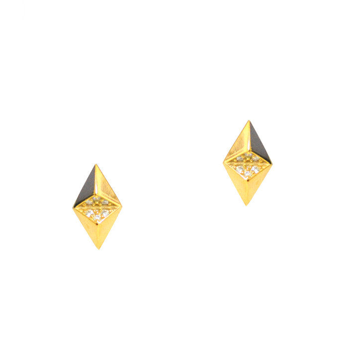 Diamond Pyramid Studs with Pave CZ Accents