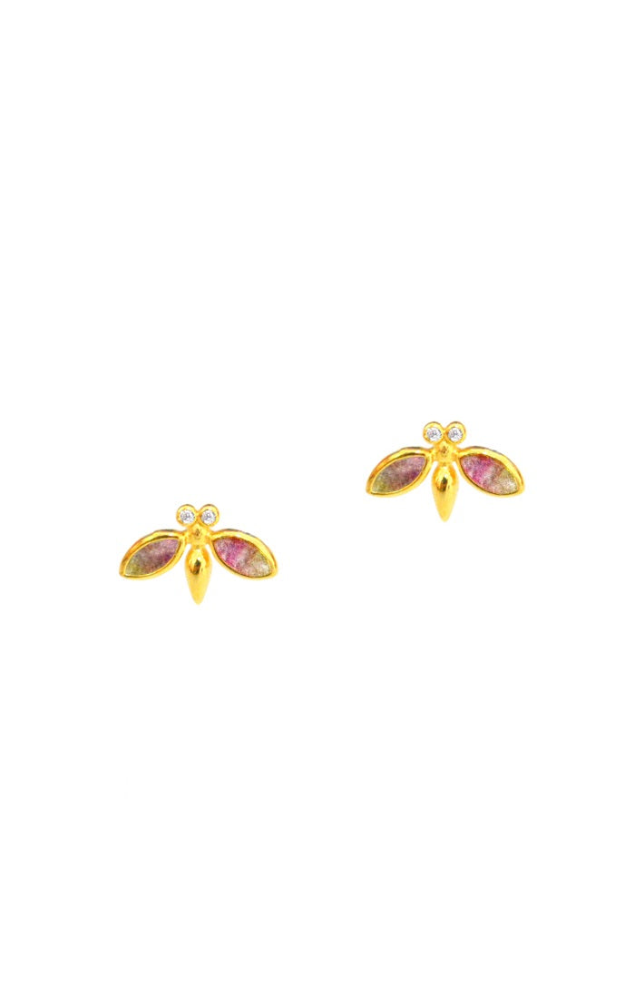 Gold Vermeil Bee Studs with Stone Accents