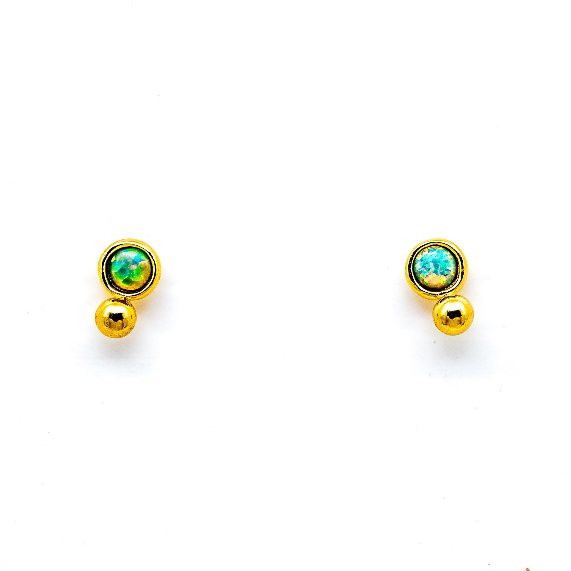 GOLD VERMEIL OPAL WITH GOLD BALL STUD