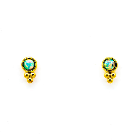 GOLD VERMEIL BEZEL SET OPAL STUD WITH CLUSTER