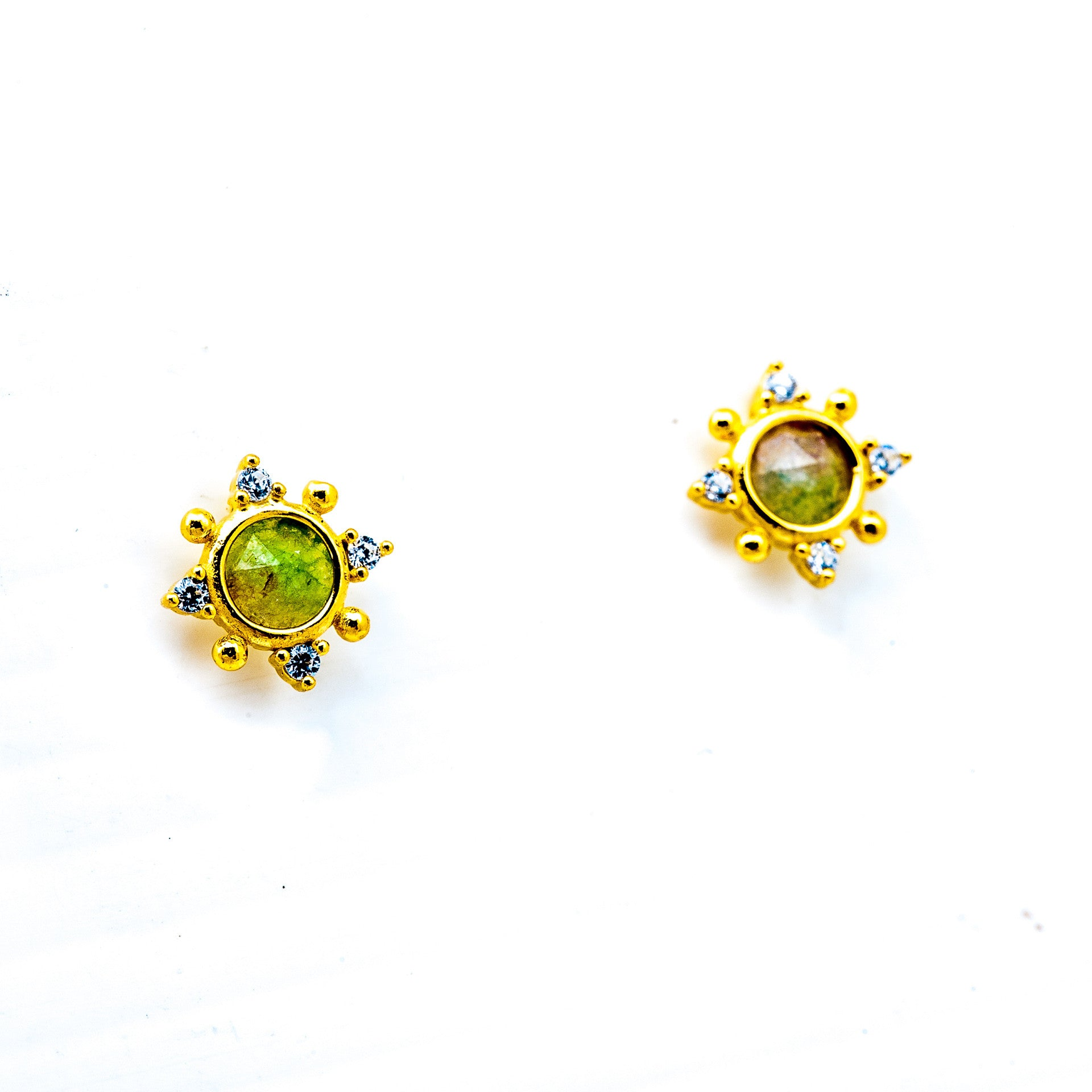 GOLD VERMEIL WATERMELON MEDALLION TOURMALINE STUDS