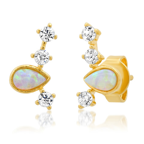 TEARDROP OPAL AND CZ STUD CRAWLER