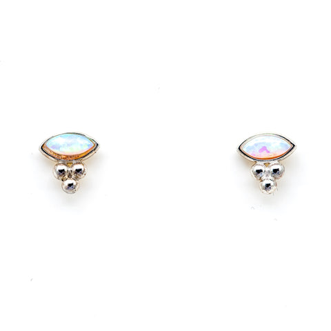 EAST/WEST OPAL MARQUISE STUDS