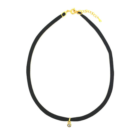 BLACK SILK CHOKER WITH CZ CHARM