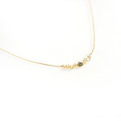 Multi-Stone Cluster Bar Necklace