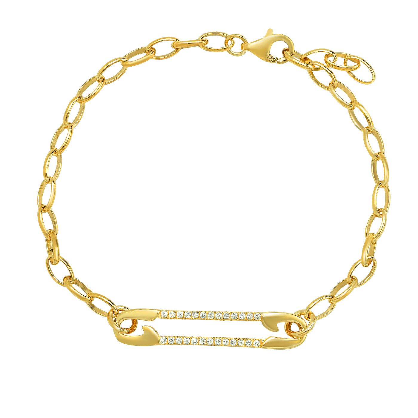 Gold & CZ Safety Pin Bracelet